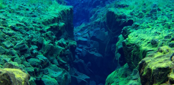 Can tectonic plate boundaries be seen underwater?