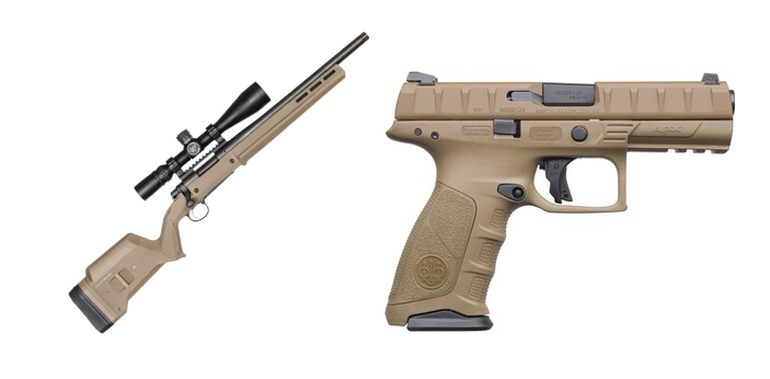Pistols and Rifles are two common types of guns. Pistols can also be classified as handguns because