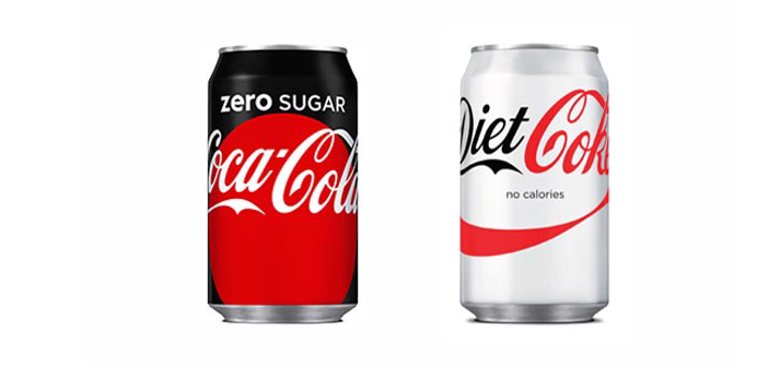 The Coca-Cola zero sugar drink and Diet Coke both do not have sugar and calories compared to the