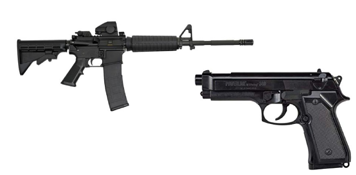 Pistols and rifles are firearms which belong to two different categories of handguns and long guns.