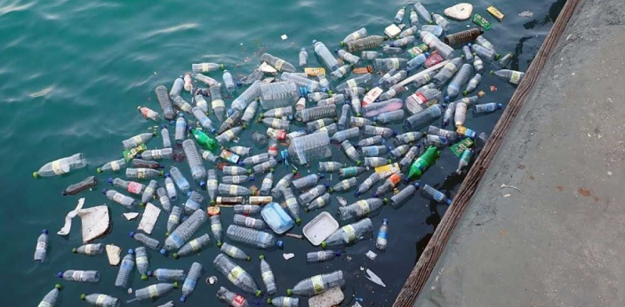 Aluminum bottles are fashioned from bauxite mineral ore, while plastic bottles are made from