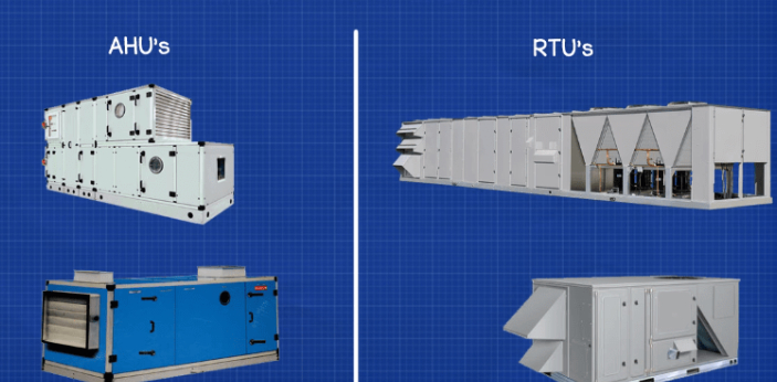 There is no big difference between AHU and RTU; this is because RTU is just a type of AHU. AHU is