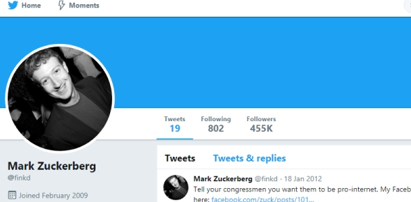 Why is Mark Zuckerberg's account not yet verified on Twitter?