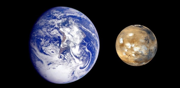 How small is Mars when compared to the Earth?