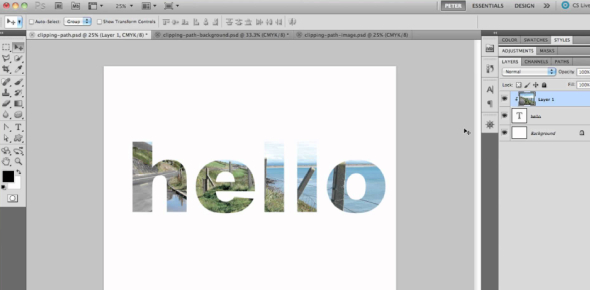 What would I do if I want to use a clipping mask to clip a paintbrush pattern into a text layer?