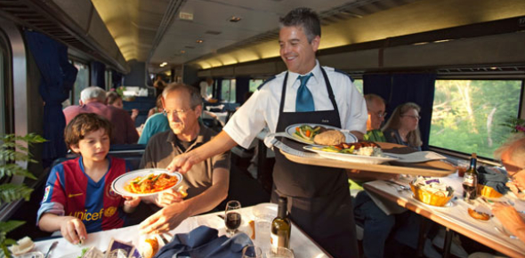 Train food is probably much better than airplane food where it is more difficult to store. However,
