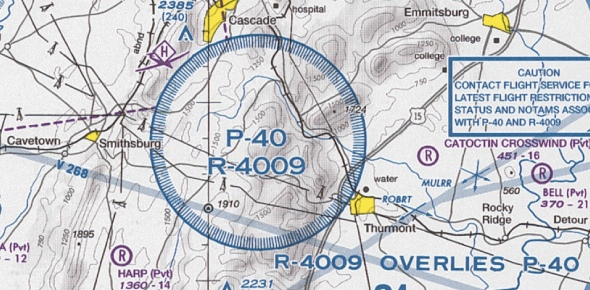 What places come under the prohibited airspace area?
