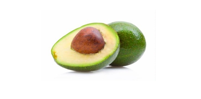 Avocados are dark green on the outside, and light green on the inside. They are pear-shaped, and