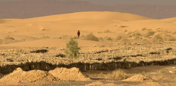 The northern thin fringe of the Sahara desert gets more winter cloudiness along with rainfall. This